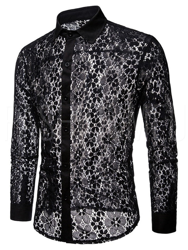 Lace Single Breasted Men's Shirt