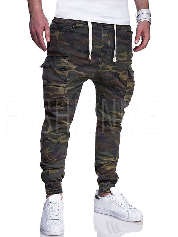 Camouflage Side Pocket Lace Up Men's Casual Pants