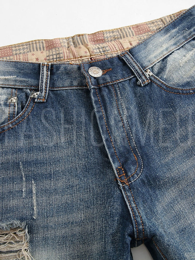 Mid Waist Worn Hole Casual Slim Fit Men's Fashion Jeans