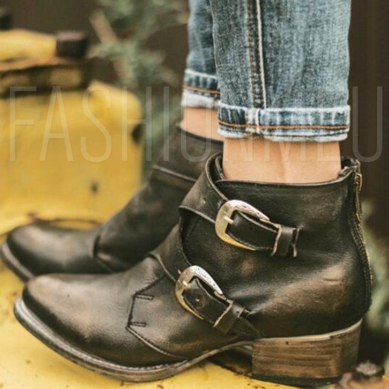 Rubber Block Heel Round Toe Women's Ankle Boots