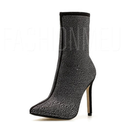 Pointed Toe Rhinestone Women's High Heeled Boots