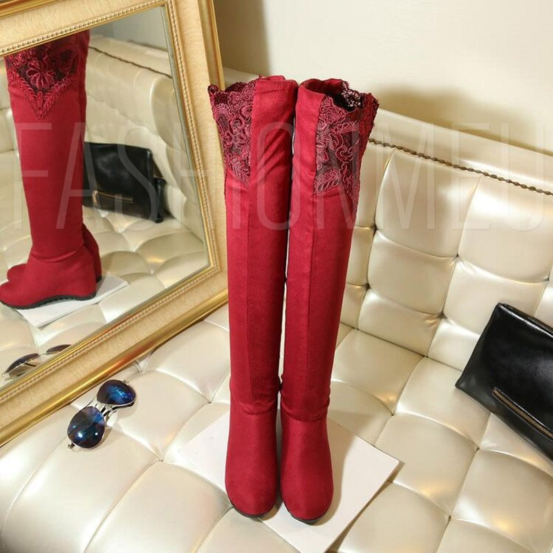 Sexy Women's Lace Thigh High Boots