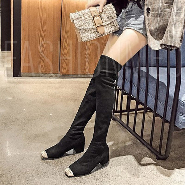 Metal Square Women's Flat Knee High Boots