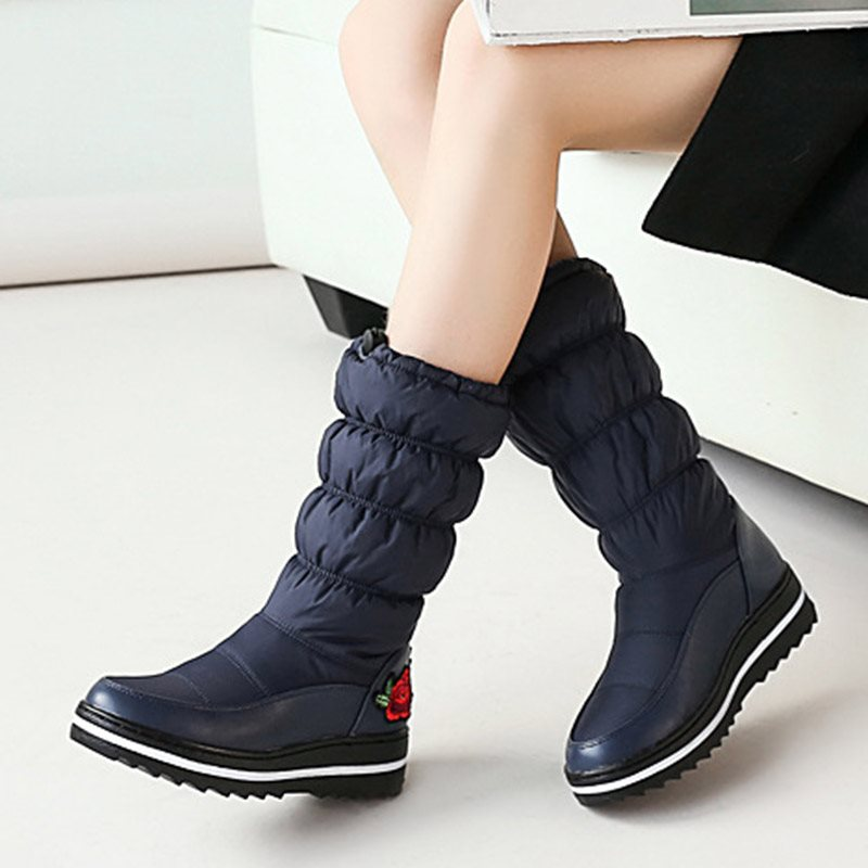 Winter Floral Patchwork Round Toe Women's Snow Boots