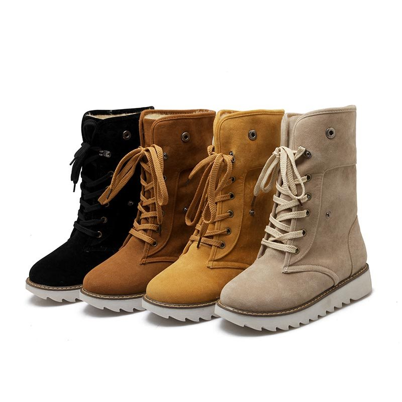 Fashionable Round Toe Lace-Up Women's Boots
