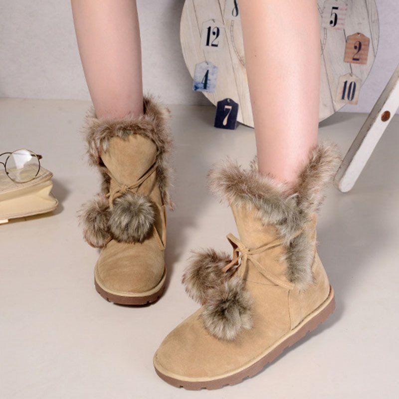 Rubber  Lace-Up Front Round Toe Snow Boots
