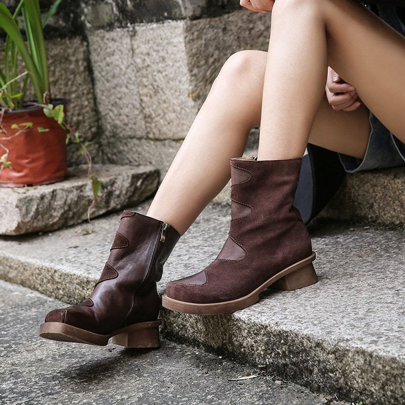 Rubber Patchwork Plain Round Toe Fashion Boots