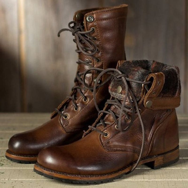 Rubber Glueing Round Toe Lace-Up Front Women's Boots