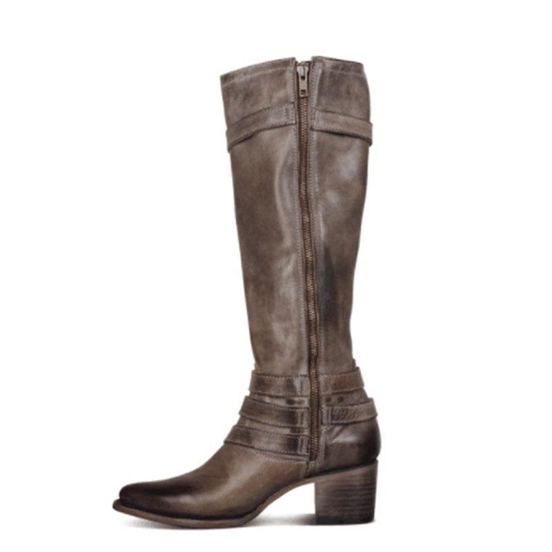 Plain Rubber Pointed Toe Knee-High Boots