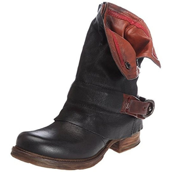 Casual Buckle PU Rubber Women's Boots