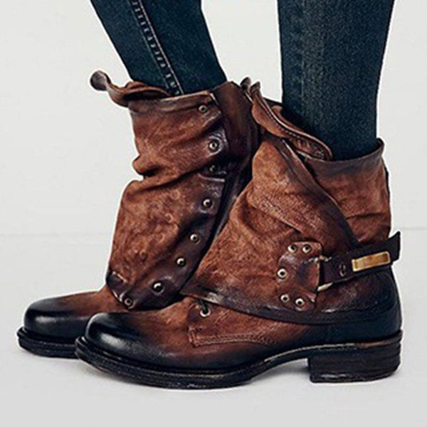 Round Toe Belt Buckle Women's Boots