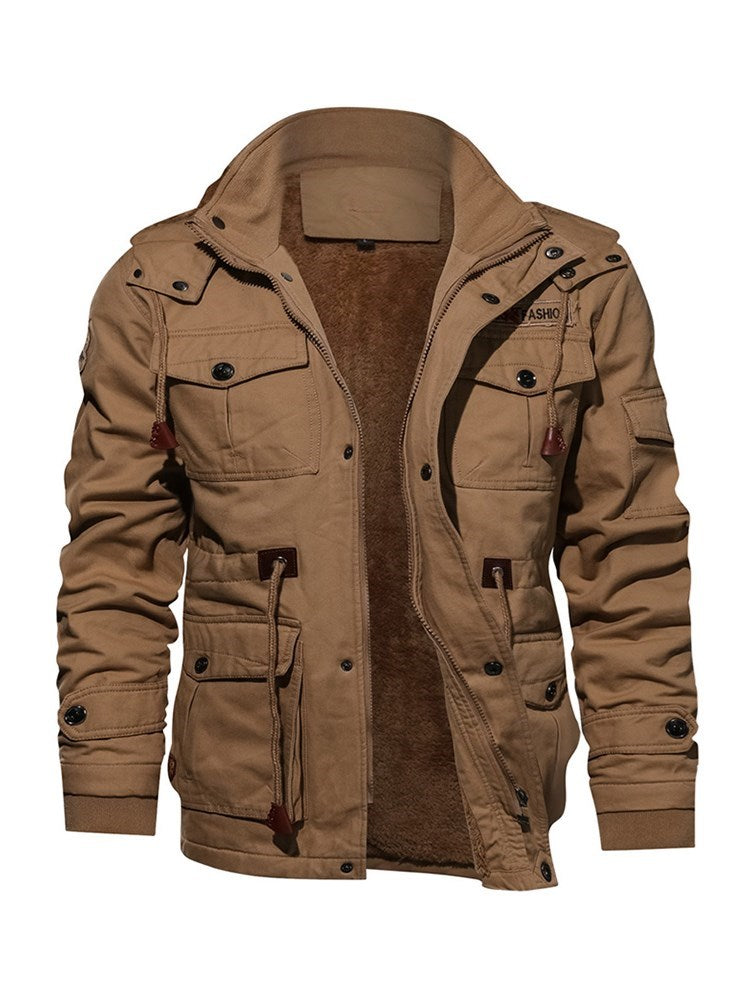 Lace-Up Stand Collar Men's Jacket