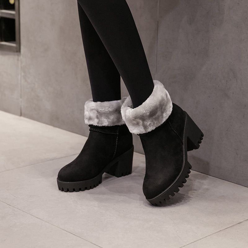 Plain Chunky Heel Suede Winter Snow Boots