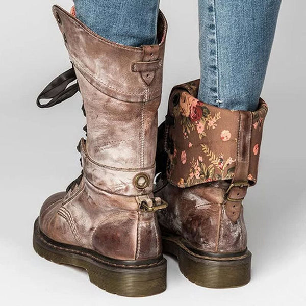 Vintage Thick Heel Lace-Up Women's Boots
