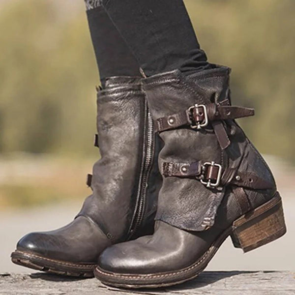Fashion Retro Belt Buckle Side Zipper Women's Boots