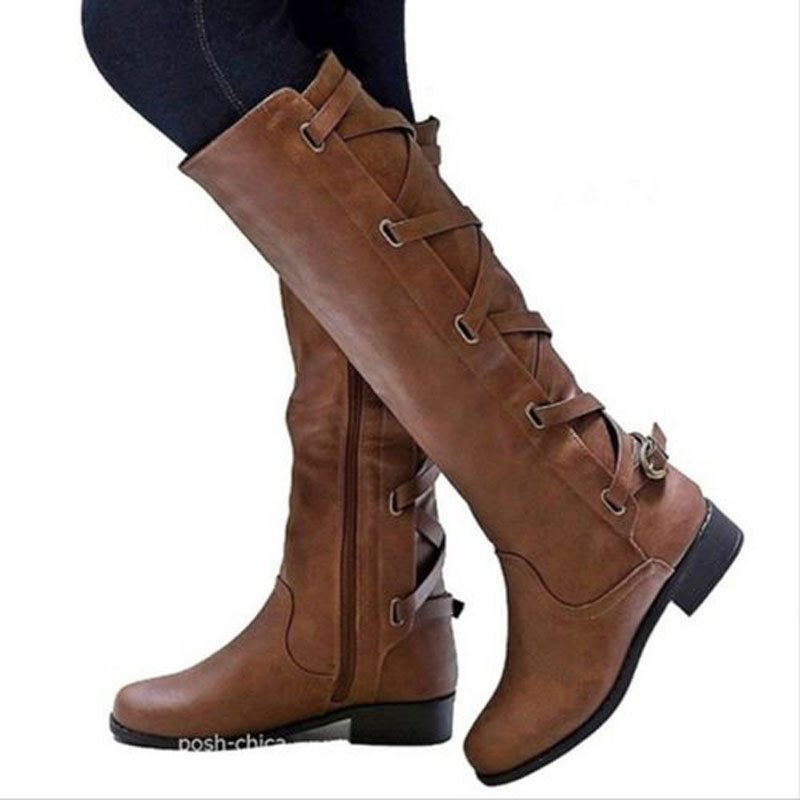 Buckle Glueing Block Heel Women's Boot