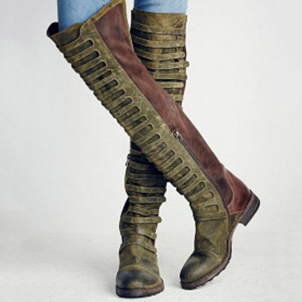 Faux Suede Gladiator Retro Knee Boots