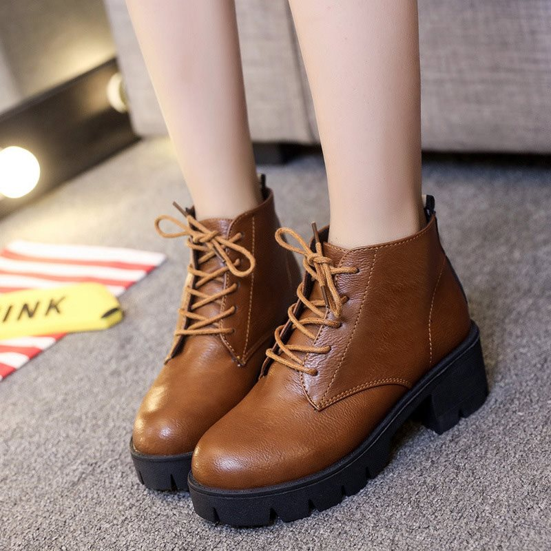 Solid Color Round Toe Lace Up Women's Boots