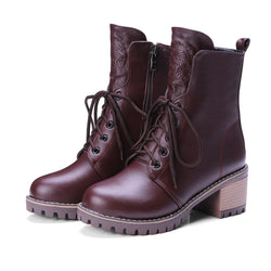 Rubber Low Heel Lace-Up Front Motorcycle Boots