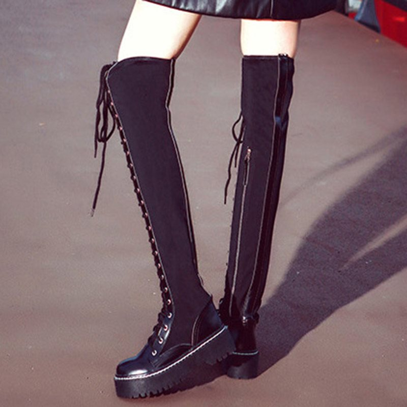 Side Zipper Lace-up Women's Knee High Boots