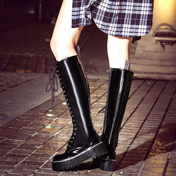 Lace-Up Patent Women's Knee High Boots