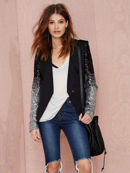 Long Sleeve Slim Sequins Women's Blazer