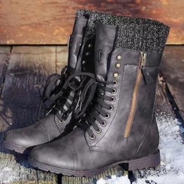 Lace-Up Front Sweater Sock Women's Boots