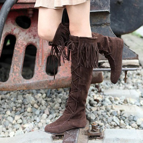 PU Rubber Short Floss Women's Knee-High Boots