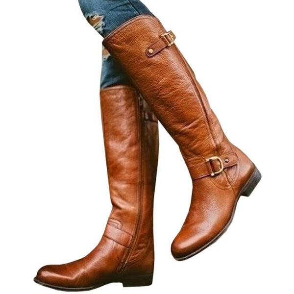 Solid Color PU Bucket Women's Knee Boots