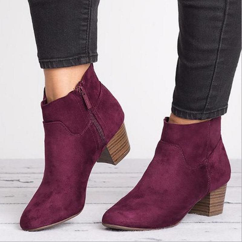 Casual Side Zipper Women's Boots