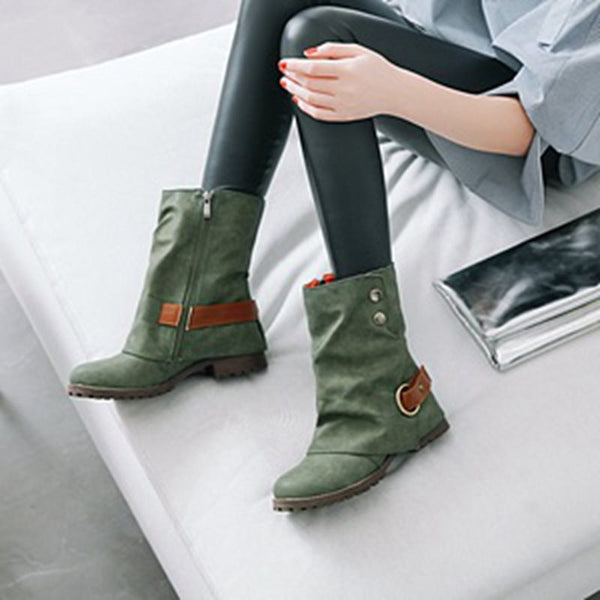 Side Zipper Block Heel Casual Women's Boots