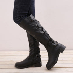 Solid Color Round Toe Women's Knee Boots