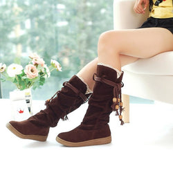 Suede Round Toe Casual Flat Women's Boots