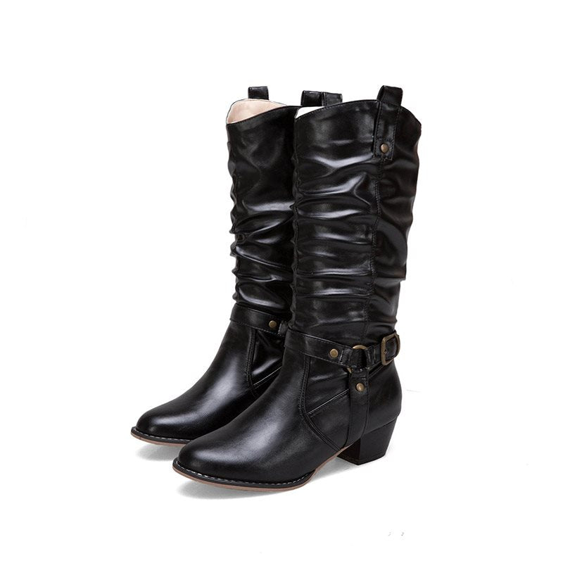 Casual Buckle Mid-Calf PU Leather Women's Boots
