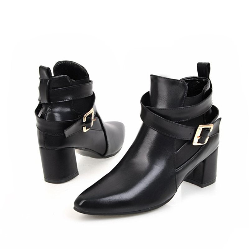 Winter  Casual  Chunky Heel  Pointed Toe Buckle Fashion Boots