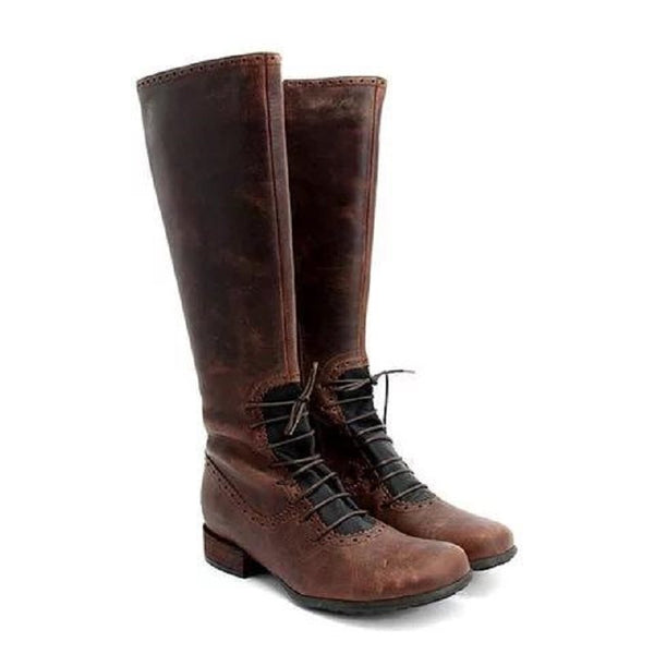 Vintage Front Lace Up Boots Casual Classic Knee High Boots