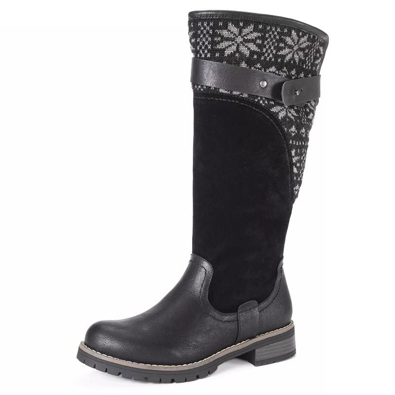 Patchwork Round Toe Rubber Women's Boots