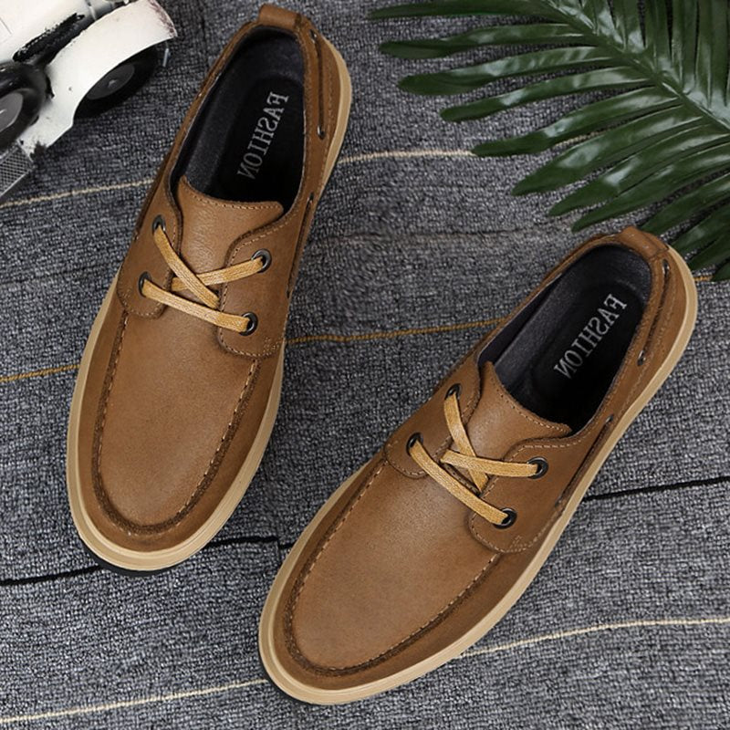 Solid Color Lace-up Men's Casual Leather Shoes