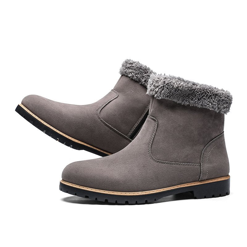 Side Zipper Round Toe Men's Casual Snow Boots