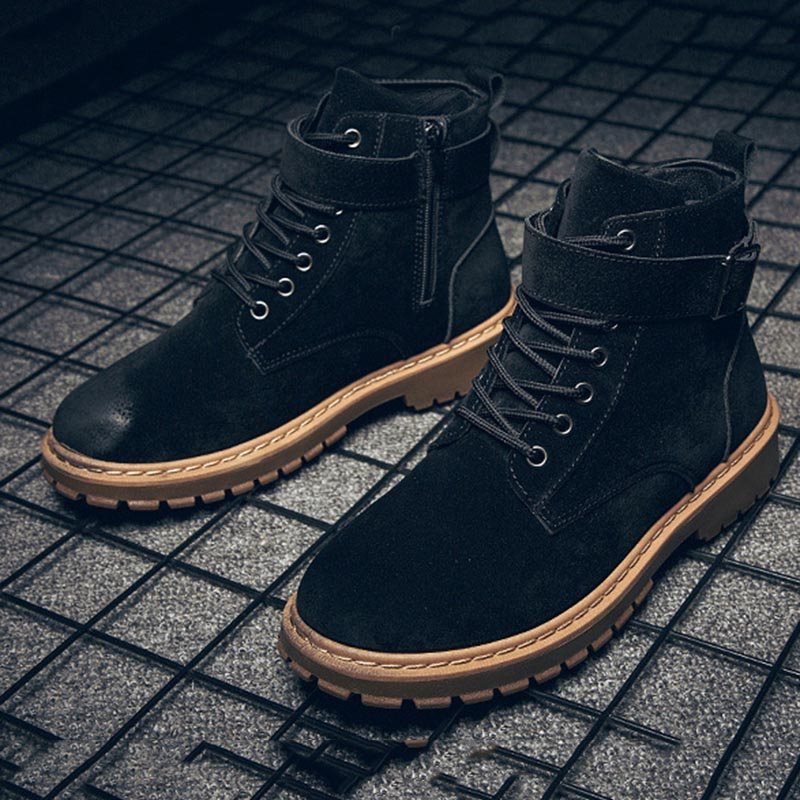 Lace-Up Buckle Casual Men's Boots