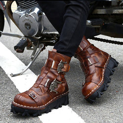 Lace-Up Punk Style Men's Ankle Boots