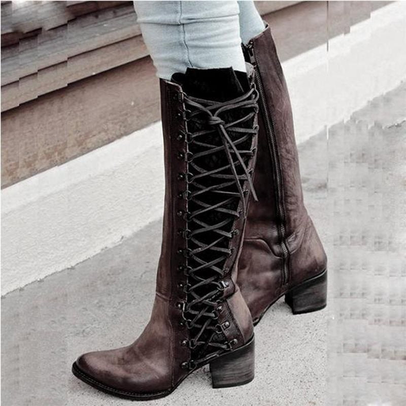 Round Toe Patchwork Block Heel Side Zipper Casual Western Boots