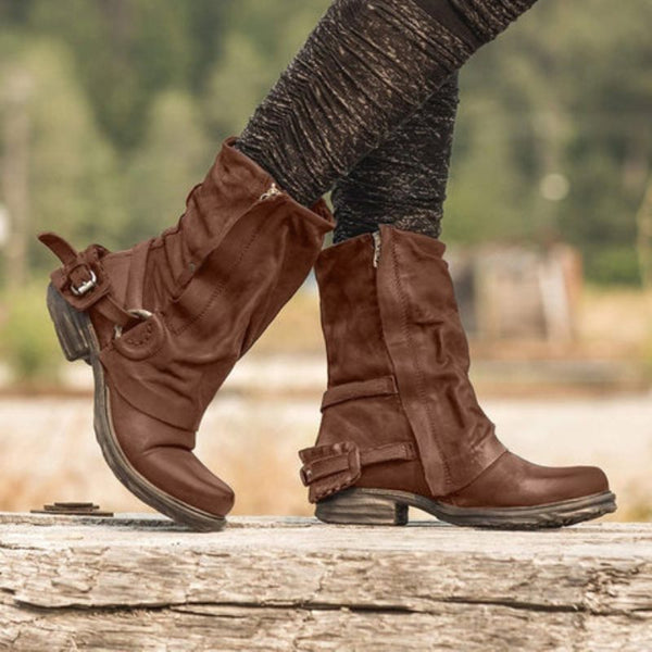 Side Zipper Round Toe Buckle Casual Boots