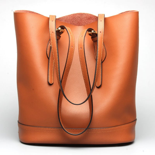 Fashion Patchwork Plain Leather Barrel-Shaped Shoulder Bags