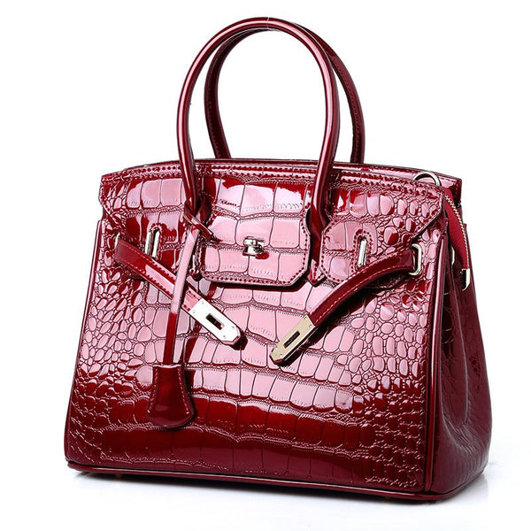 Alligator Lock PU Square Tote Bags