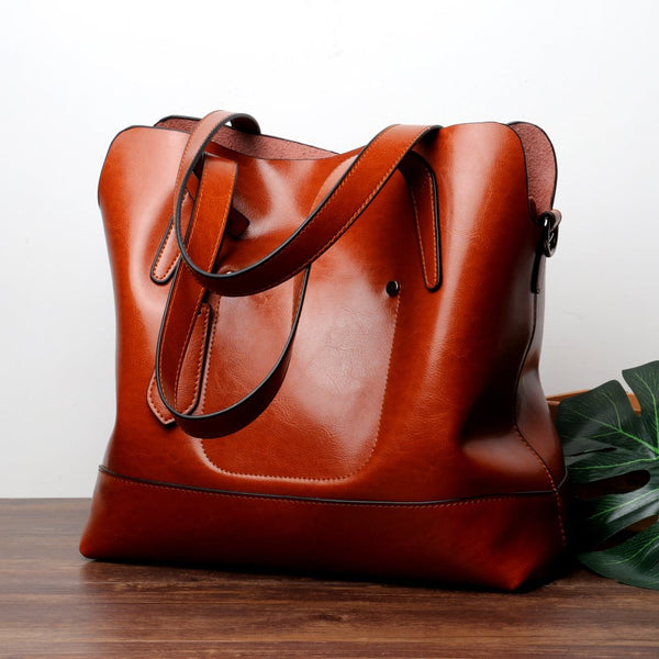 Plain Fashion Thread Leather Flap Tote Bags