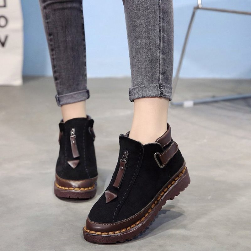 Patchwork Velcro Block Heel Round Toe Cotton Casual Boots
