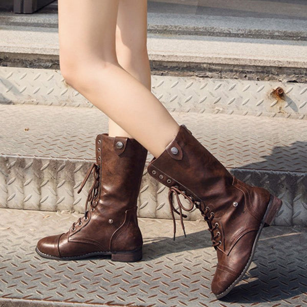 Block Heel Lace-Up Front Round Toe Plain Casual Boots
