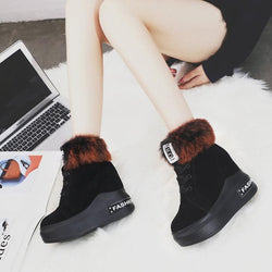 Hidden Elevator Heel Lace-Up Front Round Toe Casual Platform Boots
