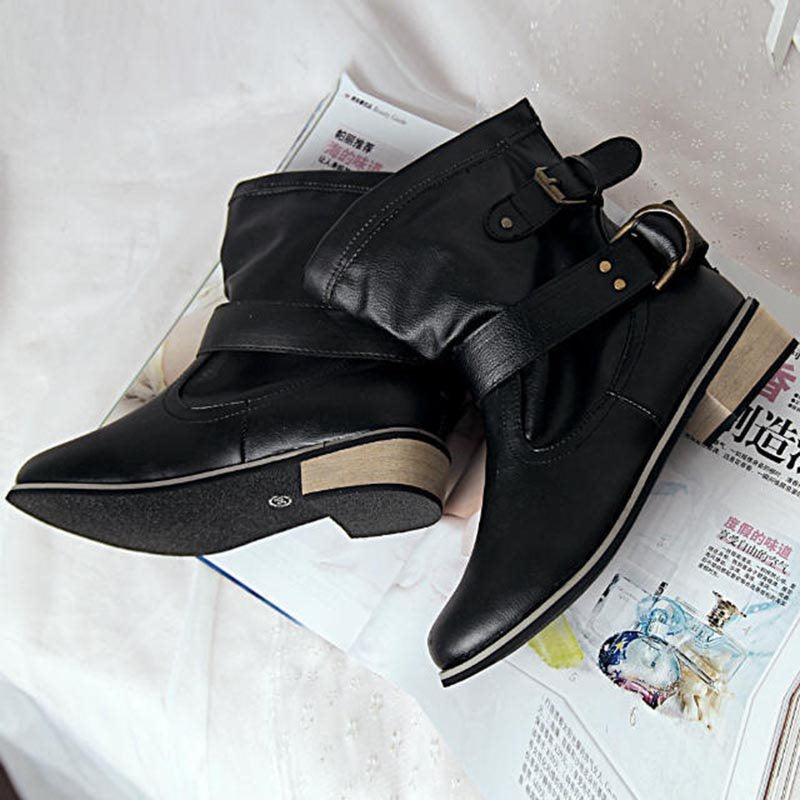 Round Toe Block Heel Slip-On Plain Casual Buckle Boots